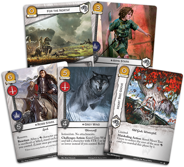 3 x House Stark Faction Card Banner of the Wolf AGoT LCG 2.0 Game of Thrones